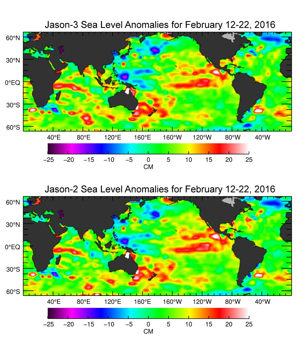 The U.S./European Jason-3 satellite has produced its first map of sea surface height. El Nino is visible as the red blob in the eastern equatorial Pacific.