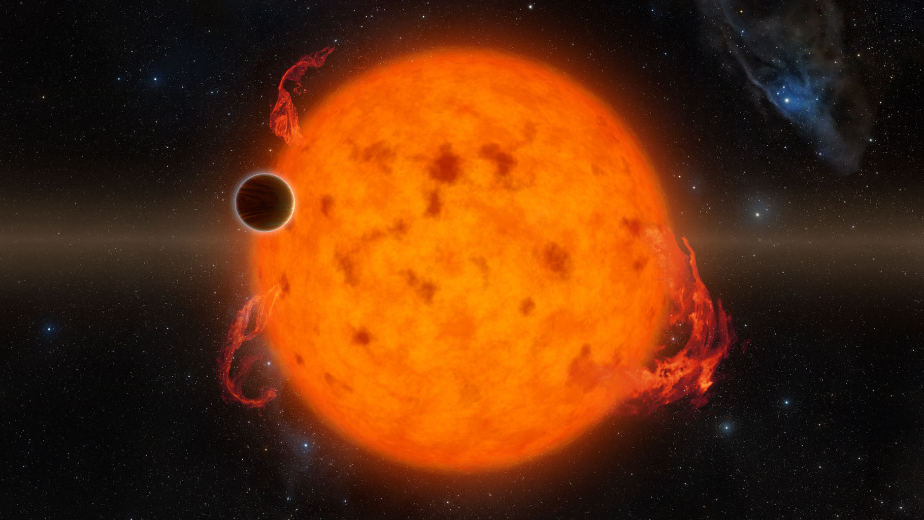 K2-33b, shown in this illustration, is one of the youngest exoplanets detected to date using NASA's Kepler Space Telescope.