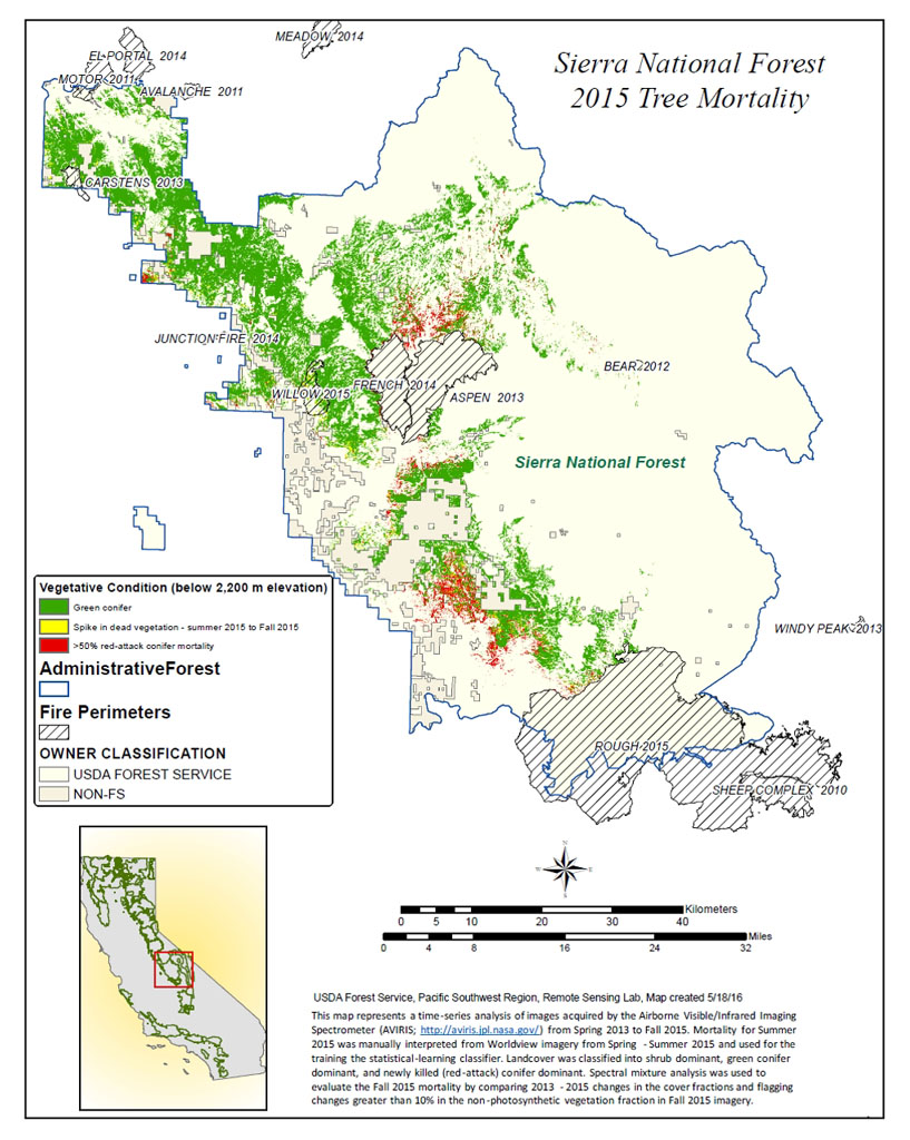 A new map created with measurements from an airborne instrument developed by NASA's Jet Propulsion Laboratory, Pasadena, California, reveals the devastating effect of California's ongoing drought on Sierra Nevada conifer forests.