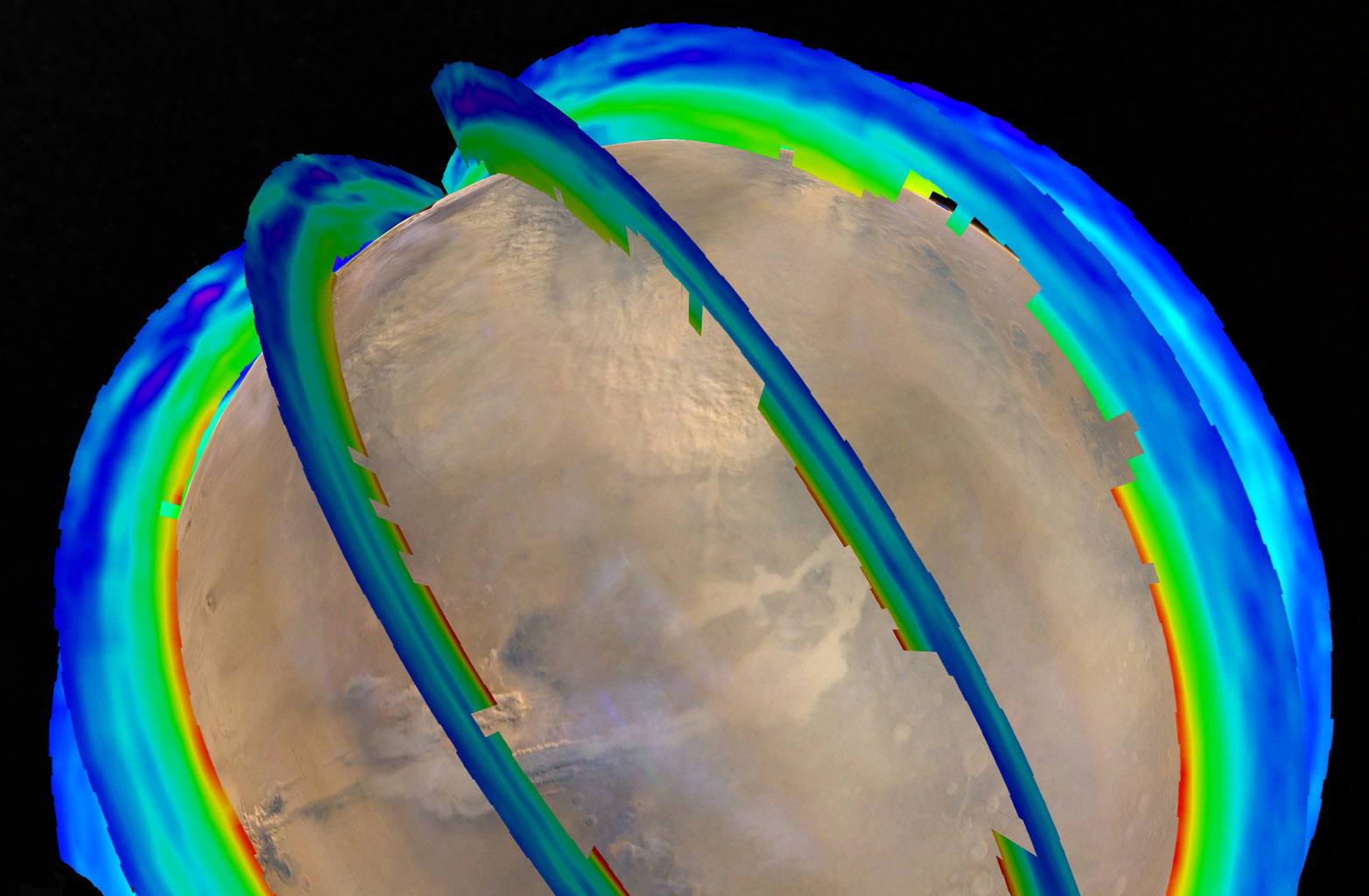 This graphic overlays Martian atmospheric temperature data as curtains over an image of Mars taken during a regional dust storm. Temperature data and global image were both recorded on Oct. 18, 2014, by NASA's Mars Reconnaissance Orbiter spacecraft.