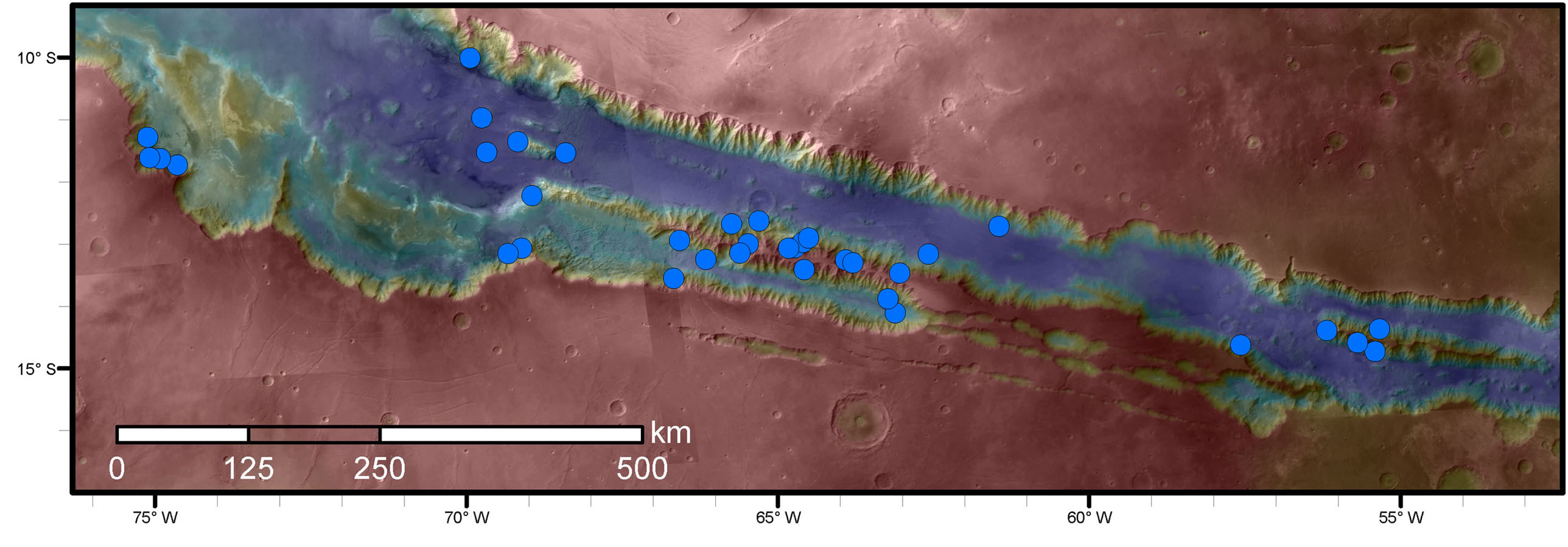Blue dots on this map indicate sites of recurring slope lineae (RSL) in part of the Valles Marineris canyon network on Mars. RSL are seasonal dark streaks regarded as the strongest evidence for the possibility of liquid water on the surface of modern Mars. The area mapped here has the highest density of known RSL on the Red Planet.