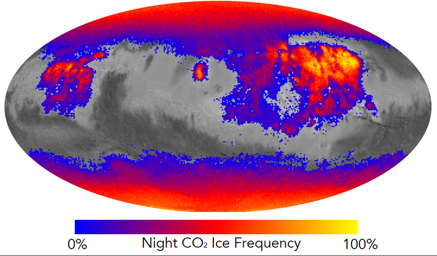 This map shows the frequency of carbon dioxide frost's presence at sunrise on Mars, as a percentage of days year-round, based on data from NASA's Mars Reconnaissance Orbiter.