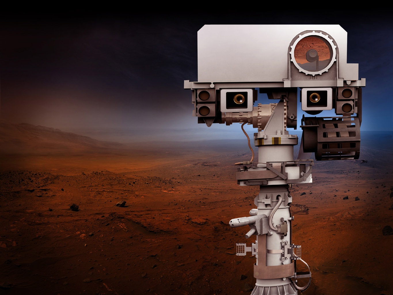 NASA's Mars 2020 Project will re-use the basic engineering of NASA's Mars Science Laboratory/Curiosity to send a different rover to Mars, with new objectives and instruments. This artist's concept depicts the top of the 2020 rover's mast.
