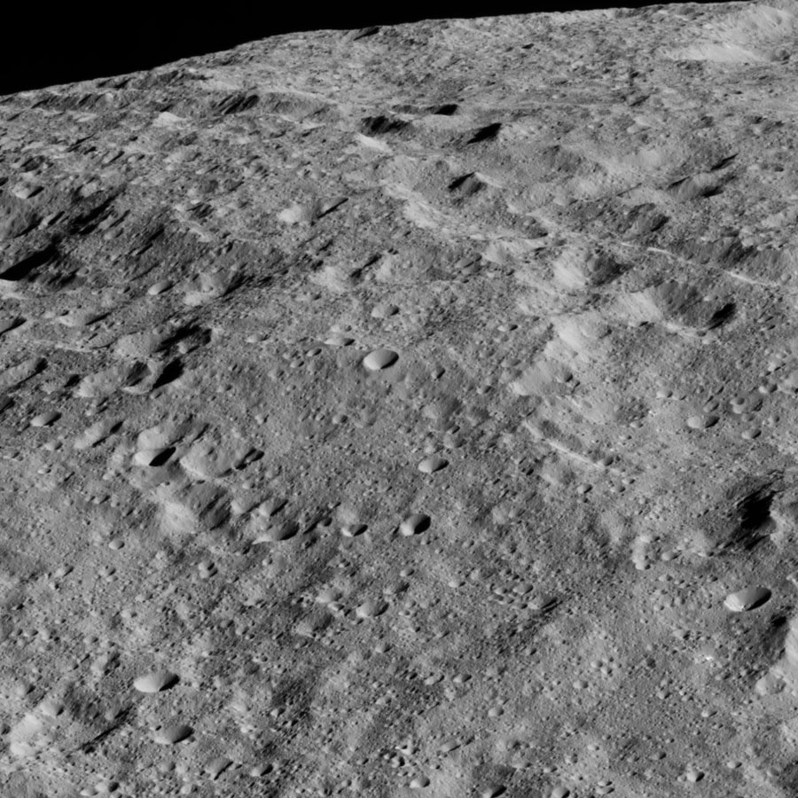 NASA's Dawn spacecraft took this image on June 13, 2016, showing the limb of Ceres from above an equatorial region east of Kirnis Crater.
