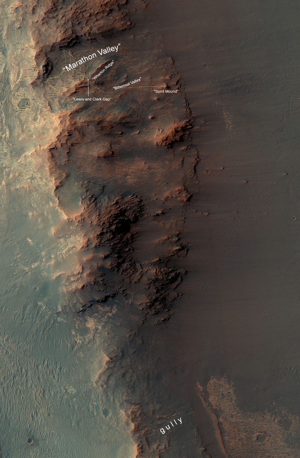 This map show a portion of Endeavour Crater's western rim that includes the
