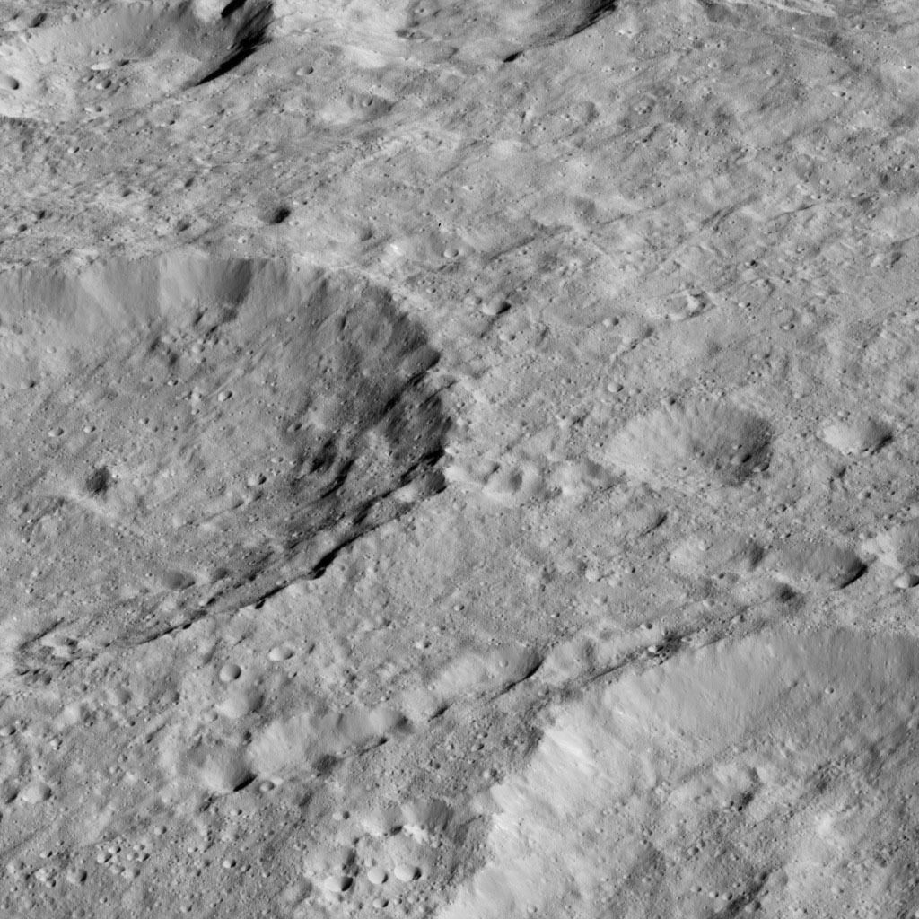 NASA's Dawn spacecraft took this image of Rao Crater (7 miles, 12 kilometers) at center left. on May 30, 2016.