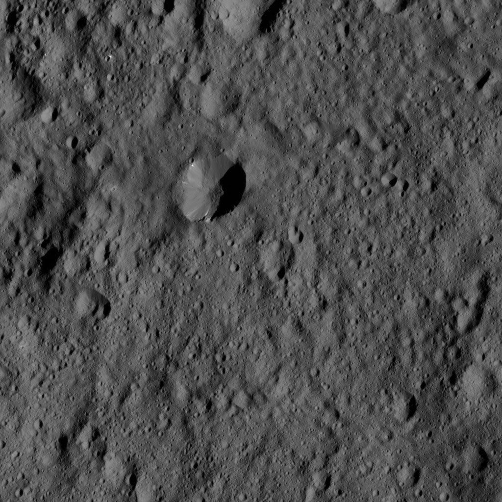This view from NASA's Dawn spacecraft shows terrain near the center of the crater Vinotonus in Ceres' northern hemisphere. Vinotonus is named for a Celtic god of vines known from Britain.
