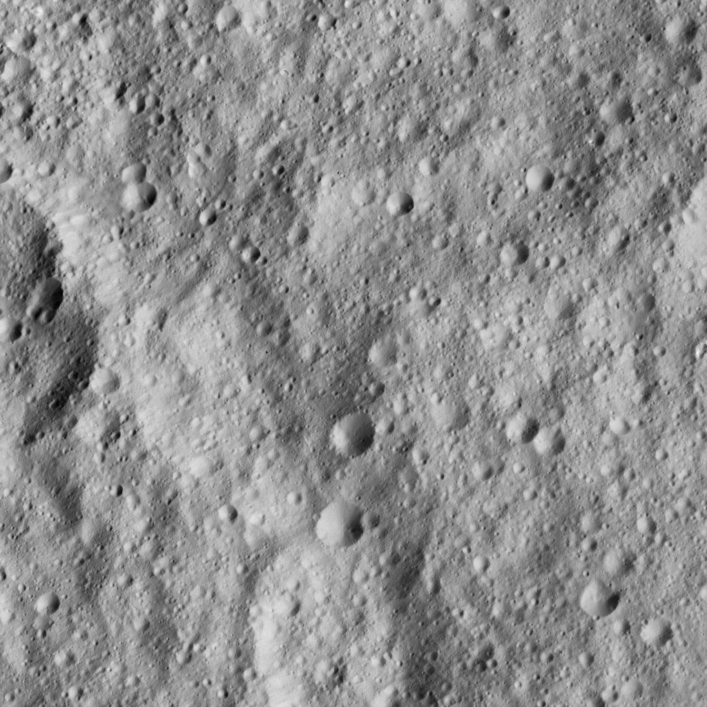 NASA's Dawn spacecraft looked down on Ceres' equatorial region to capture this view of intensely cratered terrain. The image is centered at approximately 3 degrees south latitude, 267 degrees east longitude, just south of Kimis Crater.