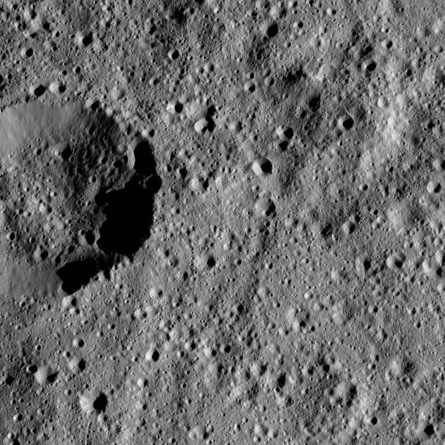 This view from NASA's Dawn spacecraft shows terrain on Ceres centered at approximately 37 degrees south latitude, 51 degrees east longitude.