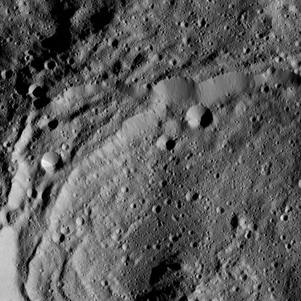 This view of Ceres from NASA's Dawn spacecraft shows the rim of Sintana Crater (36 miles, 58 kilometers wide) was taken on May 27, 2016.