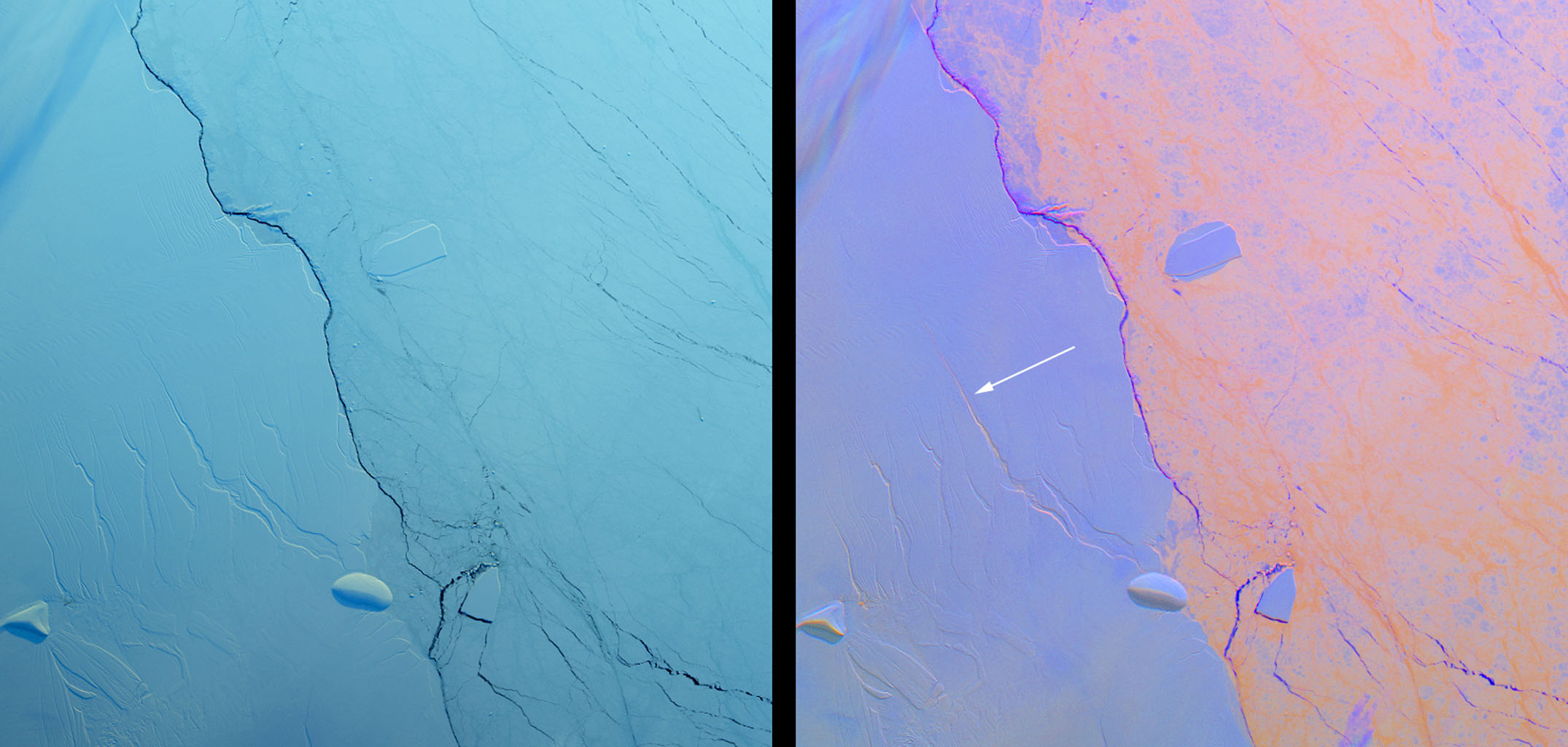 These images from NASA's Terra satellite shows a large crack in the Larsen C shelf that has grown by another 13 miles in the past six months. Larsen C is the fourth largest ice shelf in Antarctica.