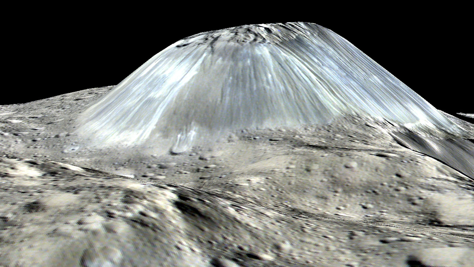 Ceres' lonely mountain Ahuna Mons is seen in this simulated perspective view from NASA's Dawn spacecraft. The elevation has been exaggerated by a factor of two.