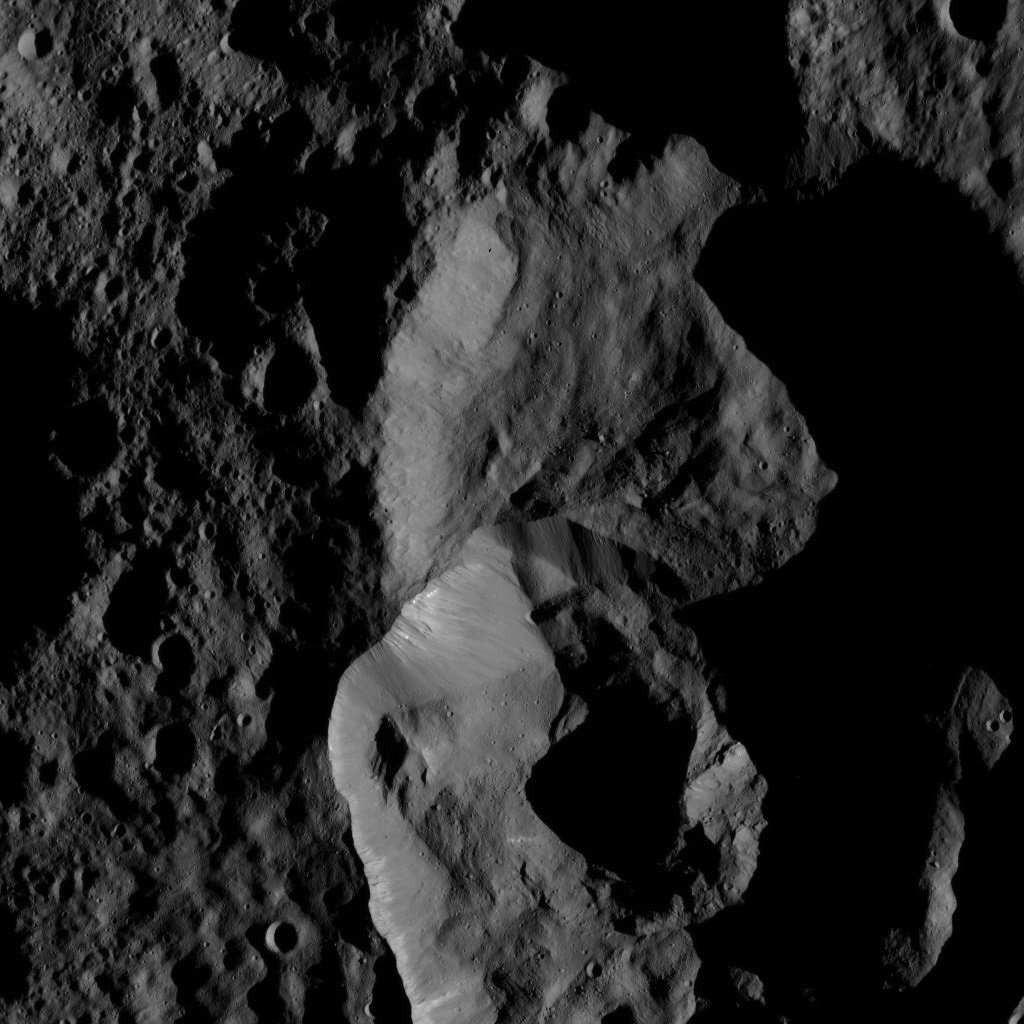 This view of Ceres from NASA's Dawn spacecraft on May 29, 2016, shows craters just south of the large impact basin named Ghanan.