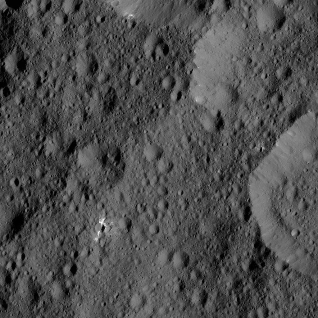 This view from NASA's Dawn spacecraft taken on May 29, 2016, shows terrain on Ceres centered at approximately 41 degrees north latitude, 308 degrees east longitude. Several features in this view display streaks and patches of bright material.