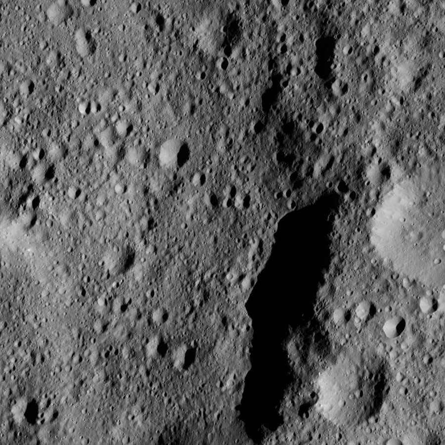 This view from NASA's Dawn spacecraft shows part of Kaikara Crater (45 miles, 72 kilometers wide) on Ceres. The image is centered at 41 degrees north latitude, 226 degrees east longitude.