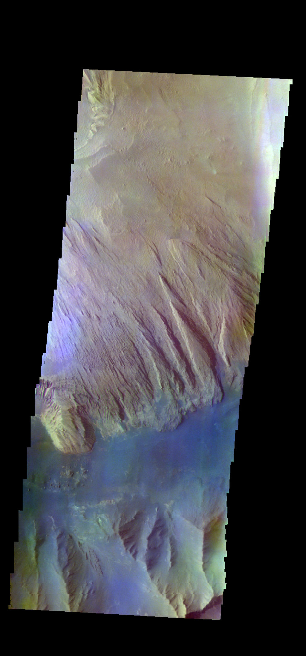 The THEMIS camera contains 5 filters. The data from different filters can be combined in multiple ways to create a false color image. This image from NASA's 2001 Mars Odyssey spacecraft shows part of Ophir Chasma.