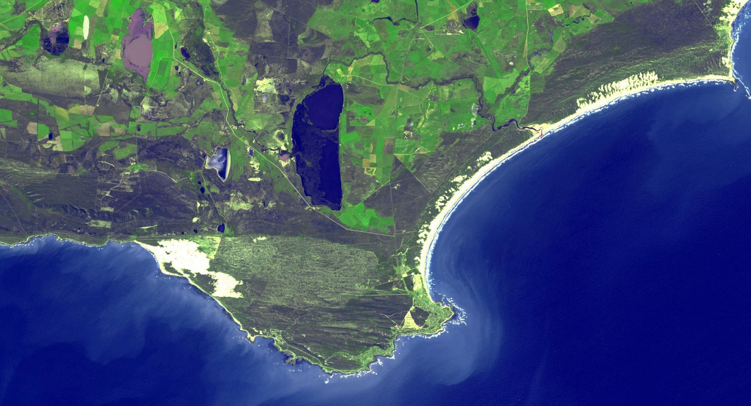 The southernmost tip of Africa is marked by the Cape Agulhas lighthouse, as shown in this image from NASA's Terra spacecraft.