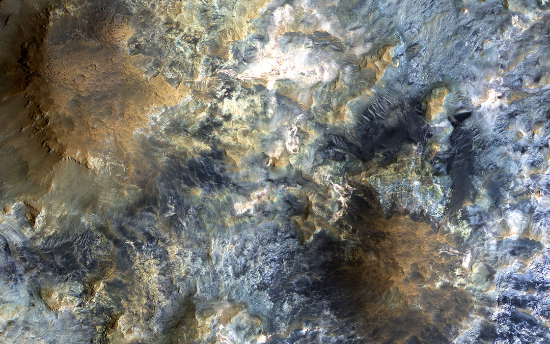 This image from NASA's Mars Reconnaissance Orbiter shows a candidate landing site in the Mawrth Vallis region for ESA's ExoMars rover, planned to launch in 2020.