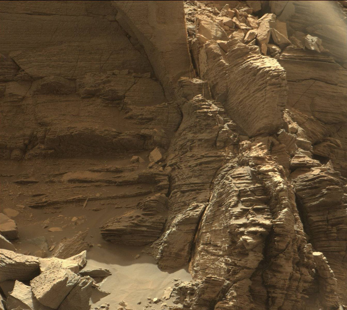 This view from the Mast Camera (Mastcam) in NASA's Curiosity Mars rover shows an outcrop with finely layered rocks within the 'Murray Buttes' region on lower Mount Sharp.