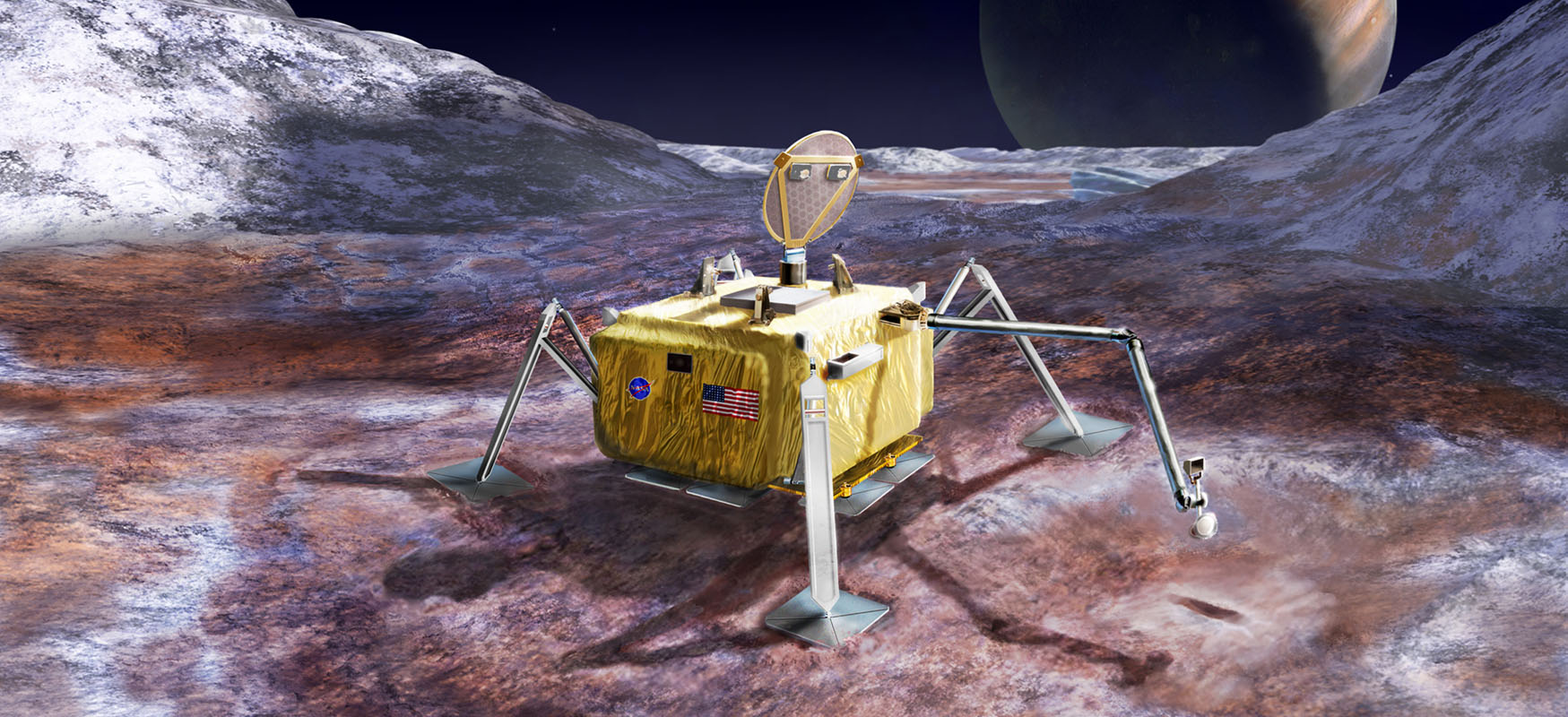 This artist's rendering illustrates a conceptual design for a potential future mission to land a robotic probe on the surface of Jupiter's moon Europa.