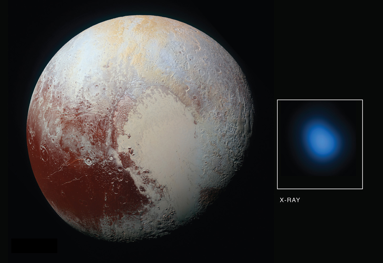 As NASA's New Horizons approached Pluto in late 2014 and then flew by the planet during the summer of 2015, NASA's Chandra obtained data during four separate observations. During each observation, Chandra detected low-energy X-rays from the small planet.