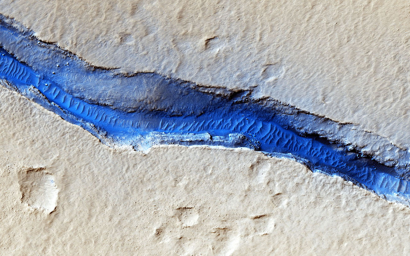 Cerberus Fossae are a series of discontinuous fissures along dusty plains in the southeastern region of Elysium Planitia as seen by NASA's Mars Reconnaissance Orbiter.