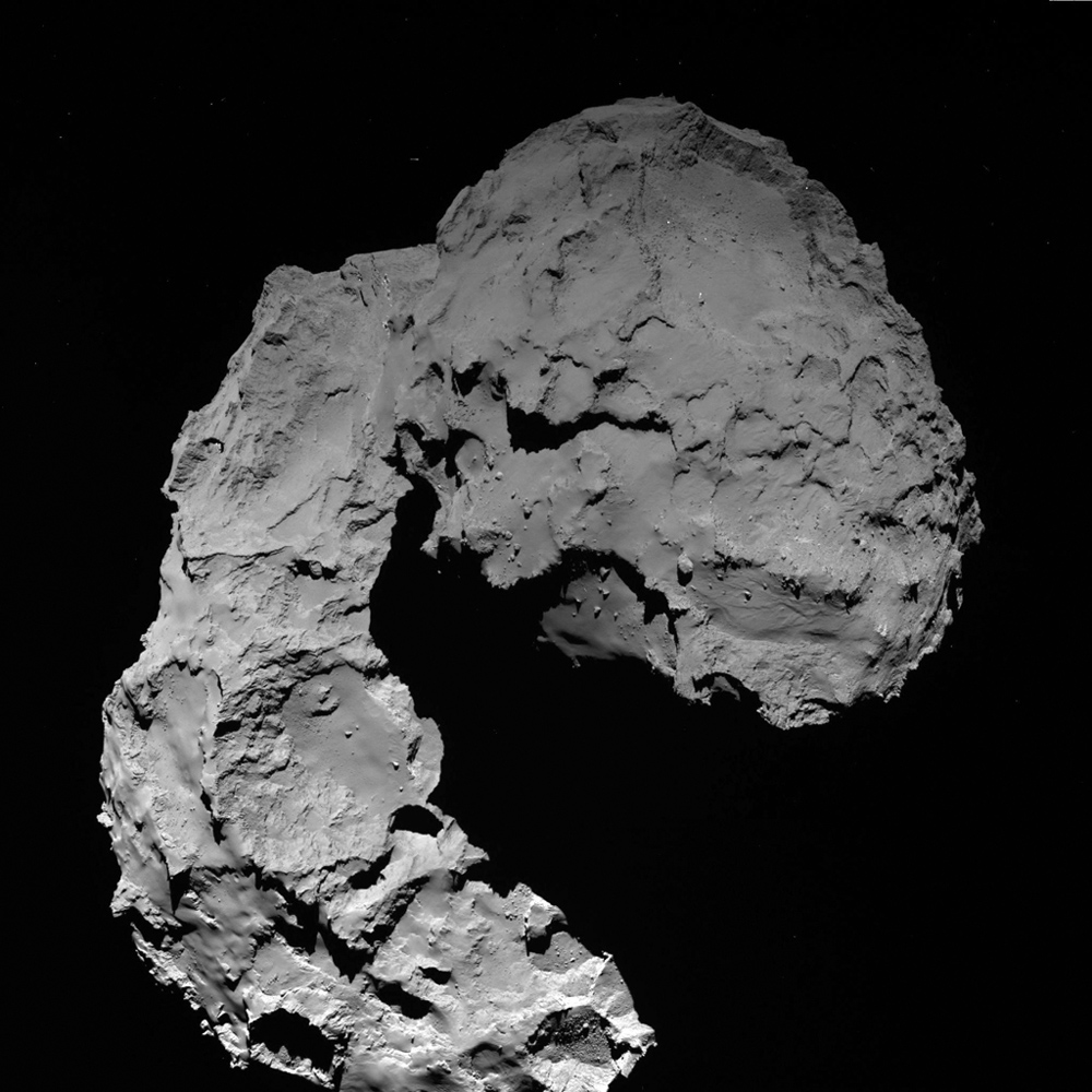 This view shows Comet 67P/Churyumov-Gerasimenko as seen by the OSIRIS wide-angle camera on ESA's Rosetta spacecraft on September 29, 2016, when Rosetta was at an altitude of 14 miles (23 kilometers).
