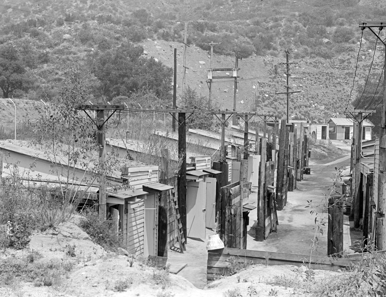 This archival picture, taken in August 1944, shows the northeast end of the Jet Propulsion Laboratory in Pasadena, Calif. This was near the Arroyo Seco, a dry canyon wash at the base of the San Gabriel Mountains.