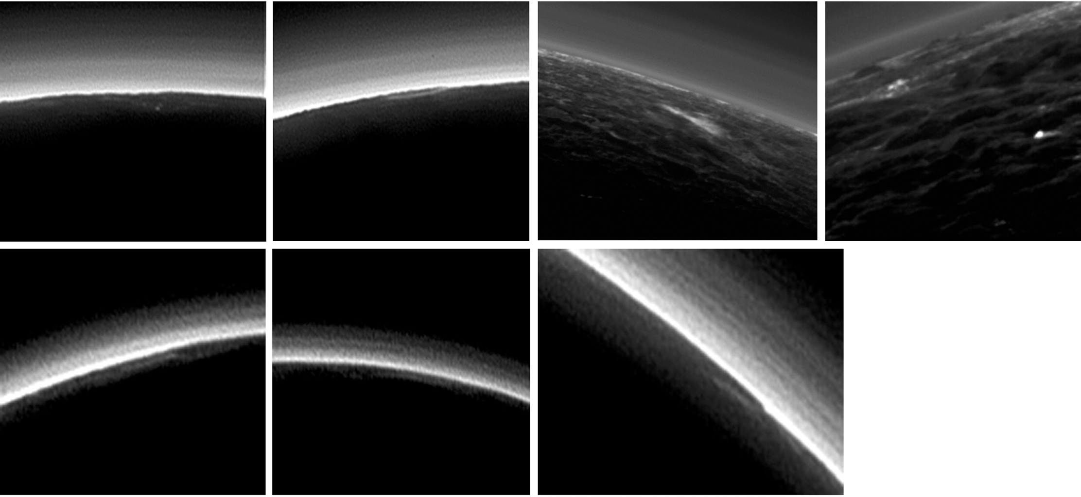 Pluto's present, hazy atmosphere is almost entirely free of clouds, though scientists from NASA's New Horizons mission have identified some cloud candidates after examining images taken during July, 2015.