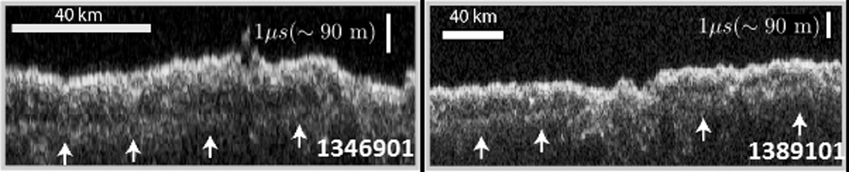 Radarskanninger af Planum Utopia's overflade-lag, dom viser is-aflejringer