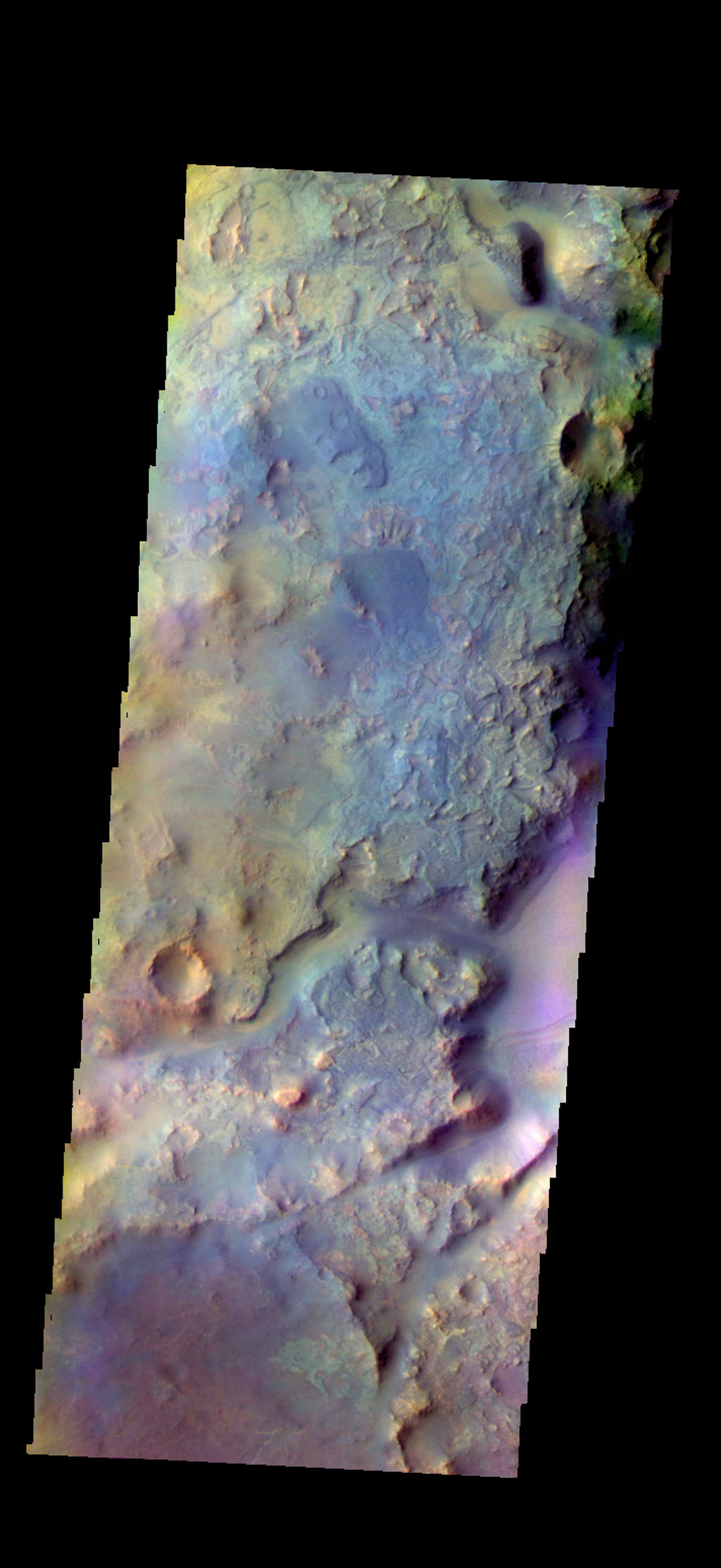 The THEMIS camera contains 5 filters. The data from different filters can be combined in multiple ways to create a false color image. This image from NASA's 2001 Mars Odyssey spacecraft shows part of Nili Fossae.