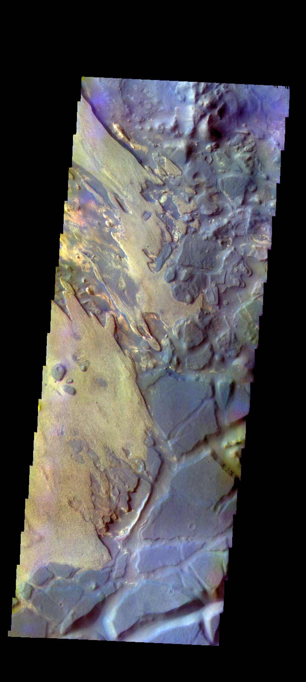 The THEMIS camera contains 5 filters. The data from different filters can be combined in multiple ways to create a false color image. This image from NASA's 2001 Mars Odyssey spacecraft shows part of Aram Chaos.