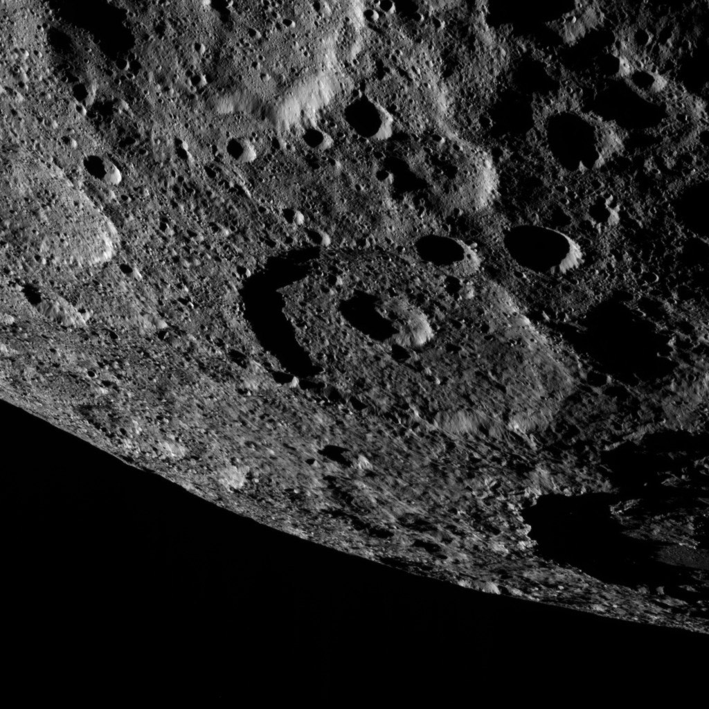 NASA's Dawn took this image on Oct. 17 showing the limb of dwarf planet Ceres shows a section of the northern hemisphere. A shadowy portion of Occator Crater can be seen at the lower right.