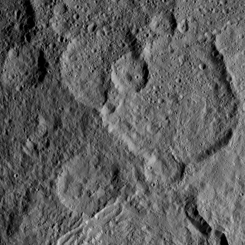 This view, taken on Oct. 21, 2016, from NASA's Dawn spacecraft shows Megwomets Crater on Ceres. Megwomets is the largest crater in this image, at right of center.