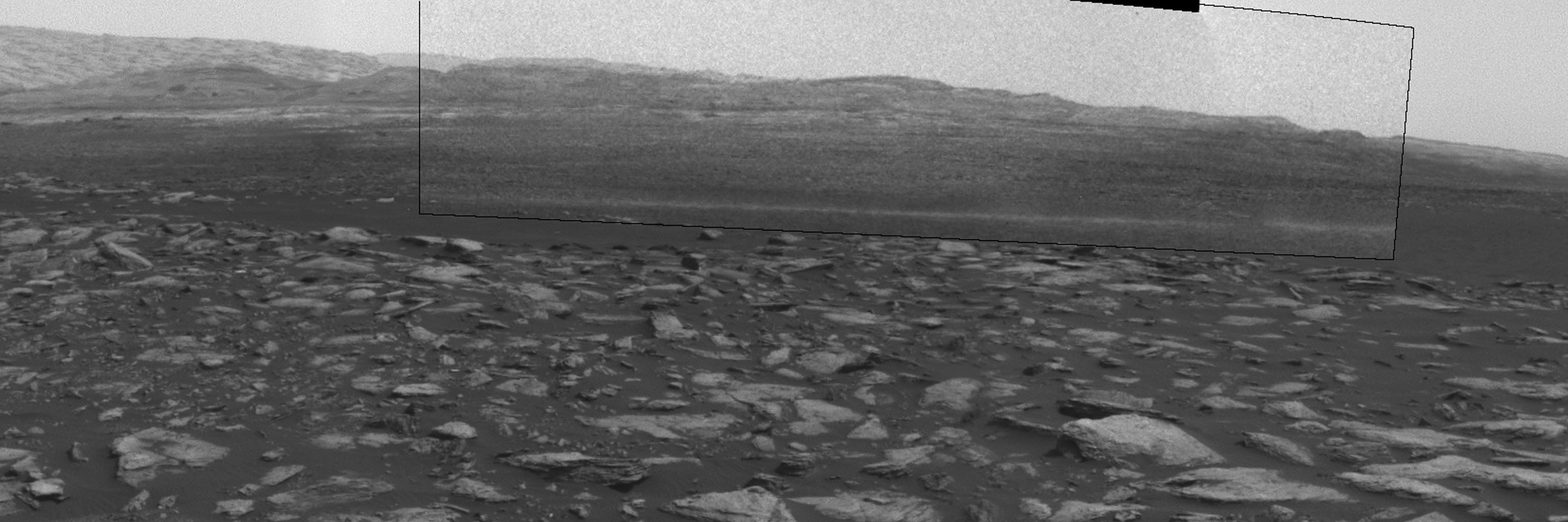 This frame from an animation shows a dust-carrying whirlwind, called a dust devil, scooting across the ground inside Gale Crater, as observed on the local summer afternoon of NASA's Curiosity Mars Rover's on Feb. 1, 2017.