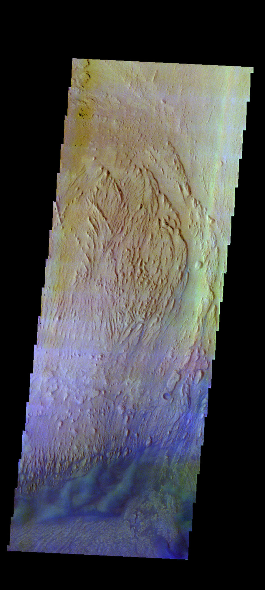 The THEMIS camera contains 5 filters. The data from different filters can be combined in multiple ways to create a false color image. This image from NASA's 2001 Mars Odyssey spacecraft shows part of the interior deposits and floor of Firsoff Crater.