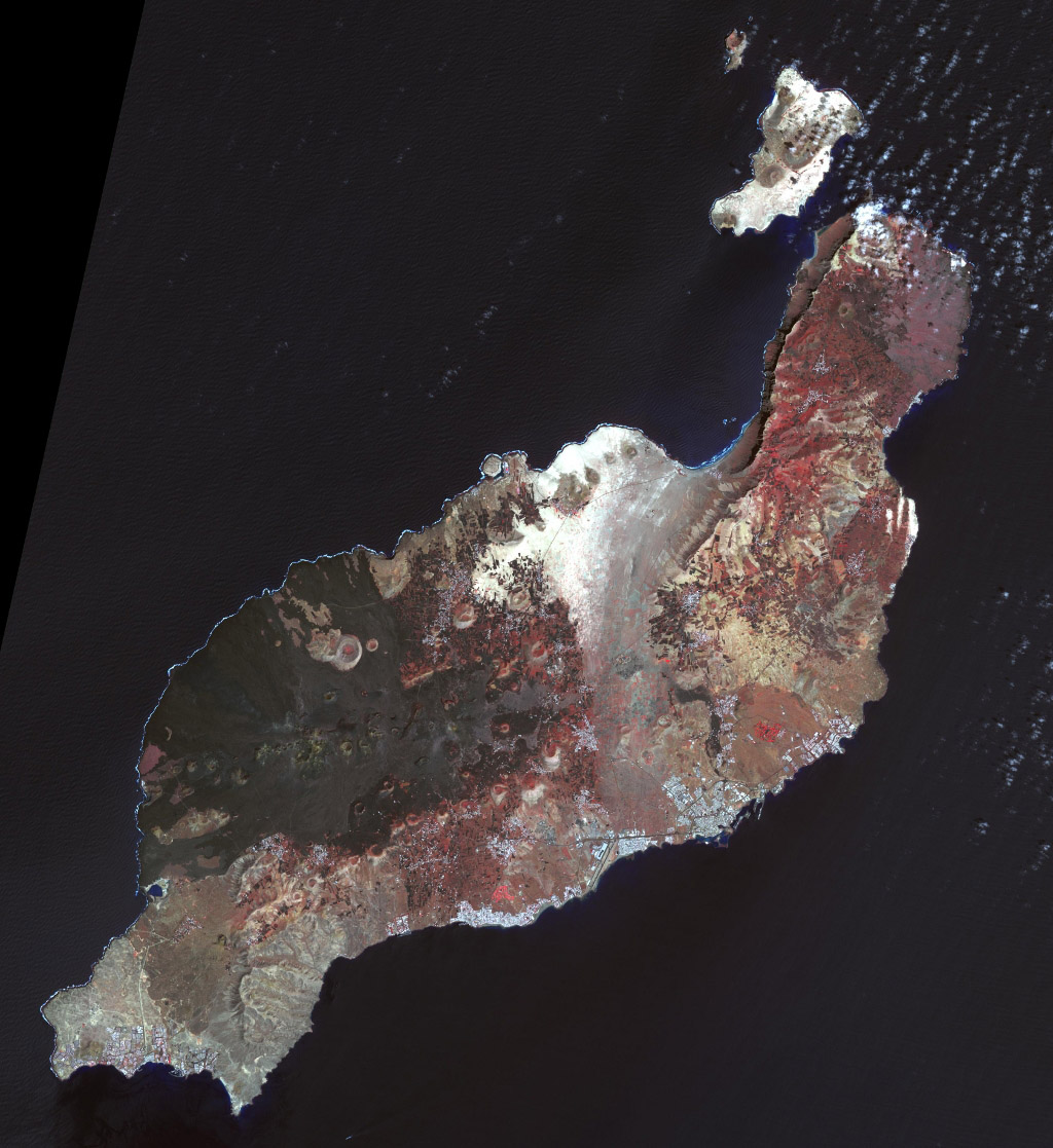 This image from NASA's Terra spacecraft shows Lanzarote, the easternmost of the Canary Islands, which is 125 km off the coast of Africa, and the fourth largest of the archipelago.