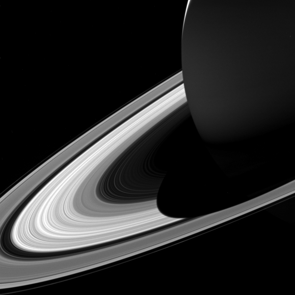 The projection of Saturn's shadow on the rings grows shorter as Saturn's season advances toward northern summer, thanks to the planet's permanent tilt as it orbits the sun, as seen by NASA's Cassini spacecraft.