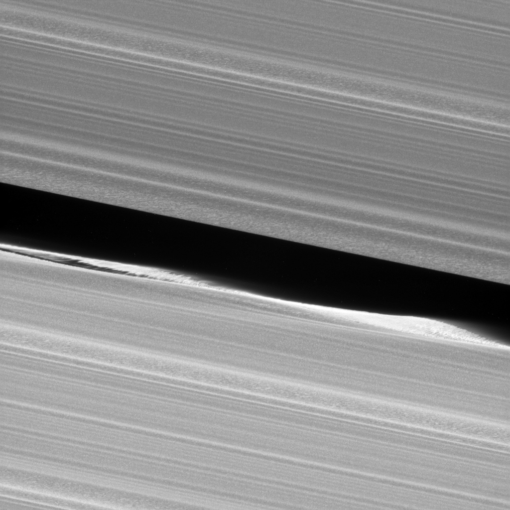 This close-up view captured by NASA's Cassini spacecraft of the Keeler Gap, which is near the outer edge of Saturn's main rings, shows in great detail just how much the moon Daphnis affects the edges of the gap.