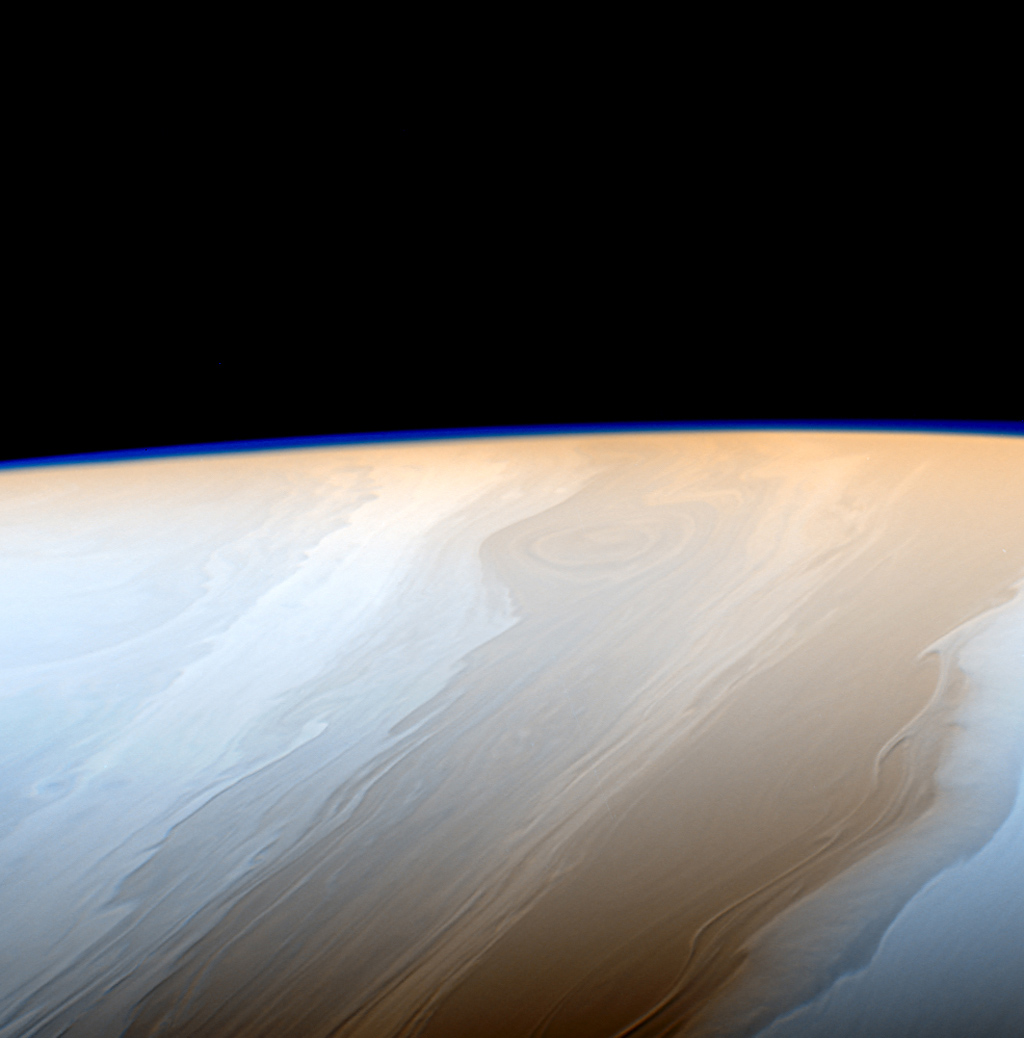 Clouds on Saturn take on the appearance of strokes from a cosmic brush thanks to the wavy way that fluids interact in Saturn's atmosphere in this false color view from NASA's Cassini spacecraft.