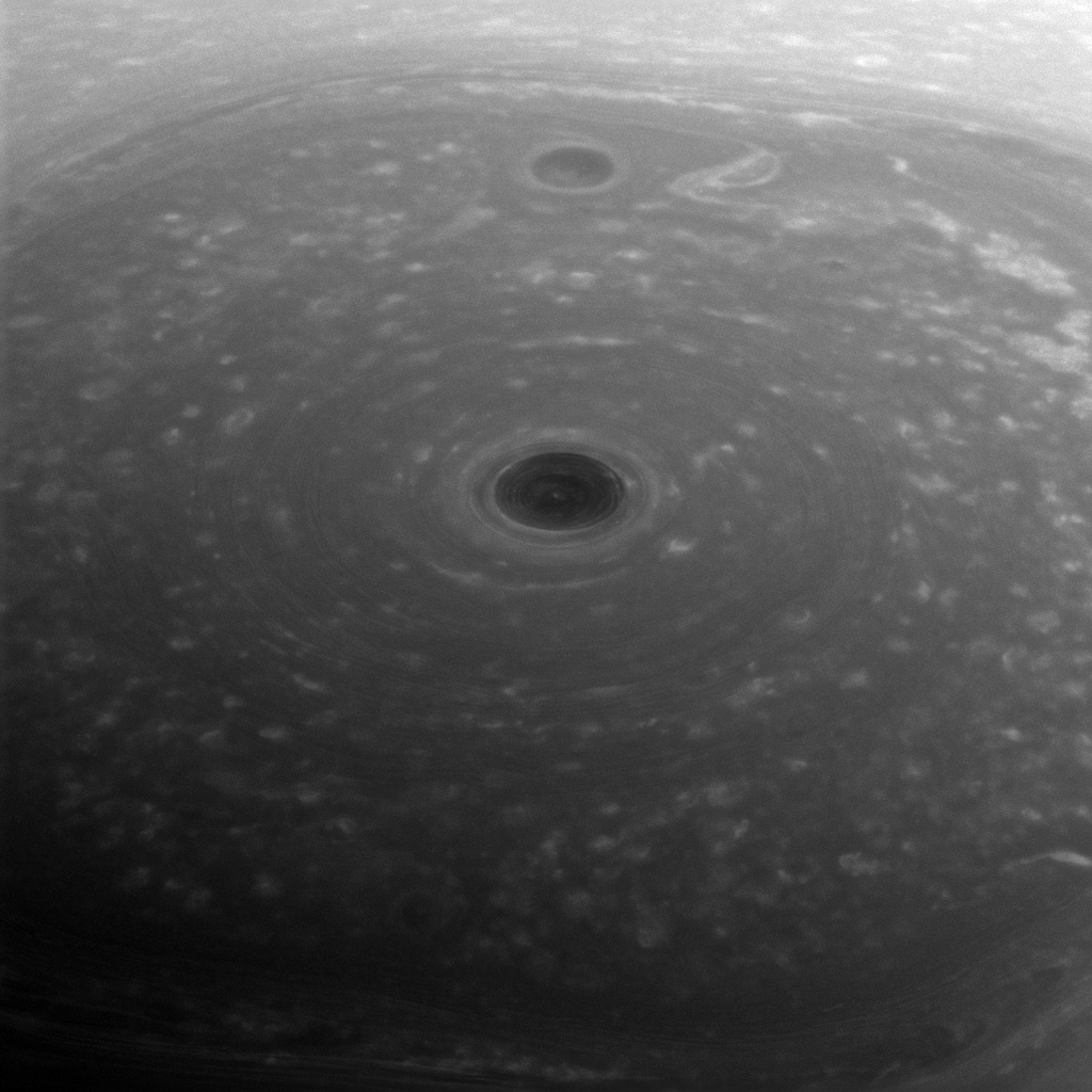 These turbulent clouds are on top of the world at Saturn. NASA's Cassini spacecraft captured this view of Saturn's north pole on April 26, 2017, the day it began its Grand Finale.