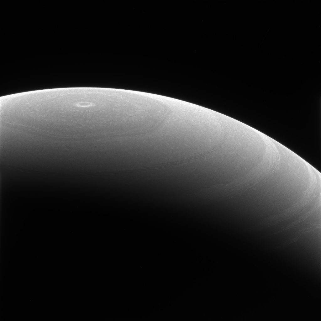 This image from NASA's Cassini spacecraft shows Saturn's cloud belts moving around the planet in a circular path with the wandering, hexagon-shaped polar jet stream breaking the mold. The Cassini spacecraft ended its mission on Sept. 15, 2017.