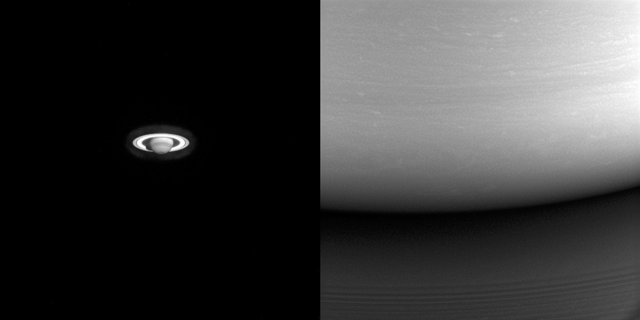 These two images illustrate just how far NASA's Cassini spacecraft traveled to get to Saturn. At left, one of the earliest images taken of the ringed planet. At right, one of Cassini's final images of Saturn.