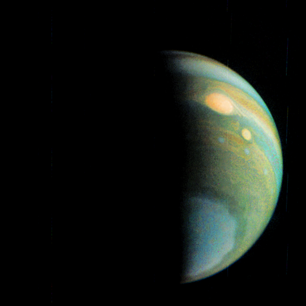 This false color view of Jupiter's polar haze was created by citizen scientist Gerald Eichstadt using data from the JunoCam instrument on NASA's Juno spacecraft.