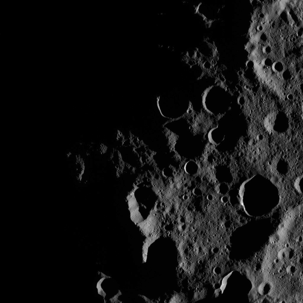 This image, taken by NASA's Dawn spacecraft on Oct. 17, 2016, captures the day-night boundary, or terminator, in the north polar region of Ceres. The north pole itself, which lies just slightly left of center in this view, is barely sunlit.