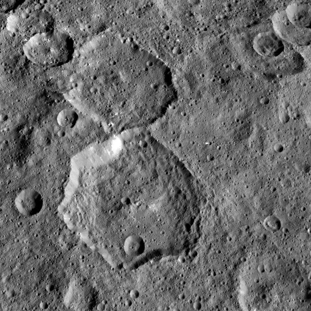 NASA's Dawn mission has found that craters on Ceres show a diversity of shapes that provide important clues about the structure of Ceres' subsurface; shown here is Fejokoo, a polygonal crater.