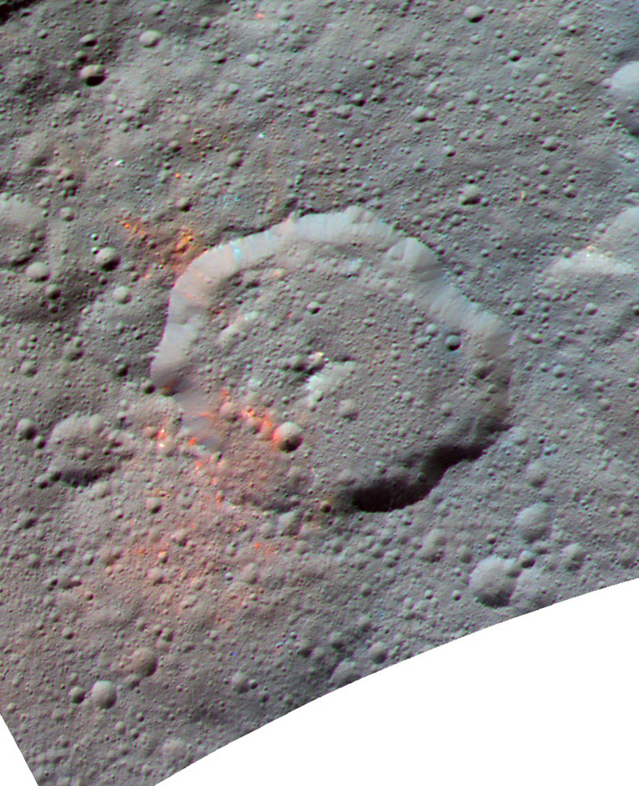 This enhanced color composite image, made with data from the framing camera aboard NASA's Dawn spacecraft, shows the area around Ernutet crater. The bright red portions appear redder with respect to the rest of Ceres.
