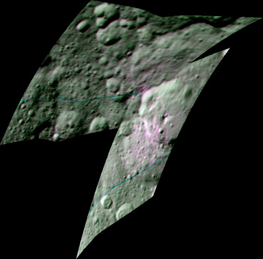 This enhanced color composite image from NASA's Dawn spacecraft's visible and infrared mapping spectrometer shows the area around Ernutet Crater on Ceres. The instrument detected the evidence of organic materials in this area.