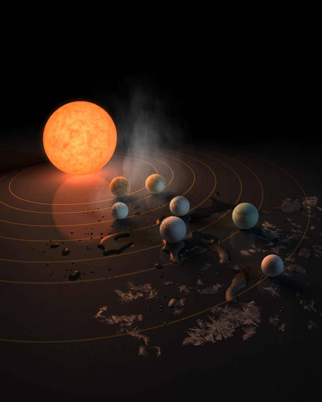 The TRAPPIST-1 star, an ultra-cool dwarf, has seven Earth-size planets orbiting it. This artist's concept appeared on the cover of the journal Nature in Feb. 23, 2017 announcing new results about the system.