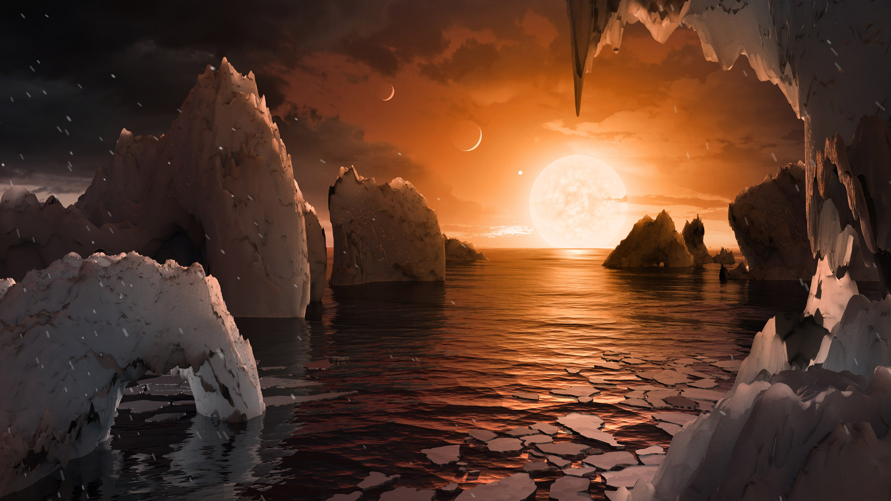 Imagine standing on the surface of the exoplanet TRAPPIST-1f. This artist's concept is one interpretation of what it could look like.